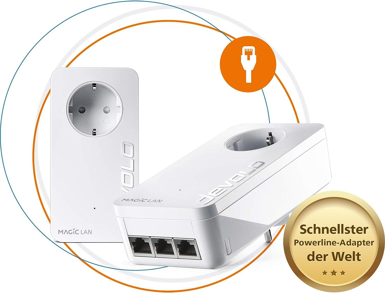 Devolo Magic 2 LAN Triple: para una Red doméstica Estable a través de la Corriente eléctrica a través de Paredes y techos, tecnología G.hn, 3 Puertos Gigabit LAN Blanco Starter Kit