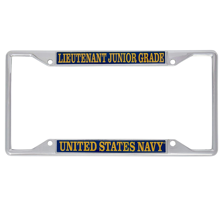 Desert Cactus US Navy Lieutenant Junior Grade Officer Grades License Plate Frame for Front Back of Car Officially Licensed United States