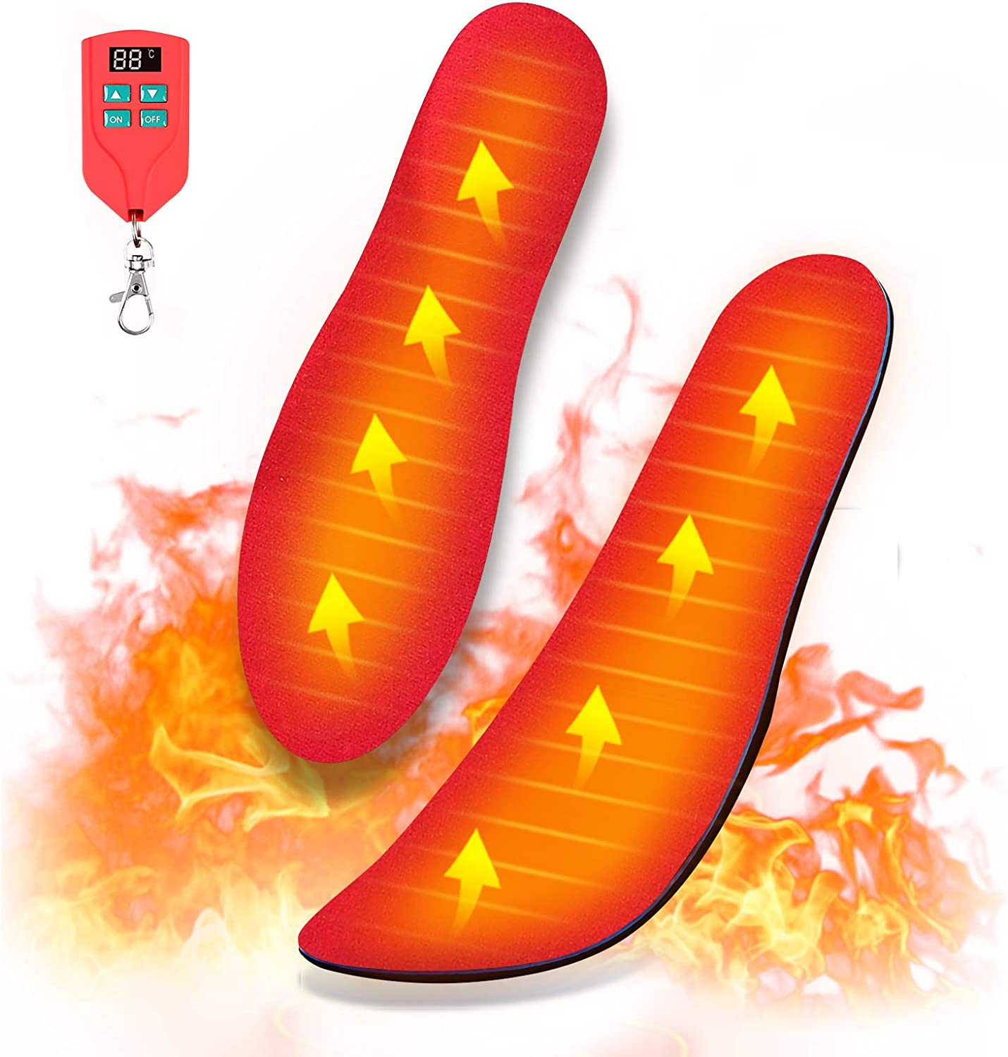 Wodesid Rechargeable Heated Insoles with Wireless Remote Control for Women Men Electric Heating Boot Insoles for Hunting USB Shoes Pad Foot Warmer Winter Outdoor Indoor (SM-Women 5.5-9, Men 4-8)