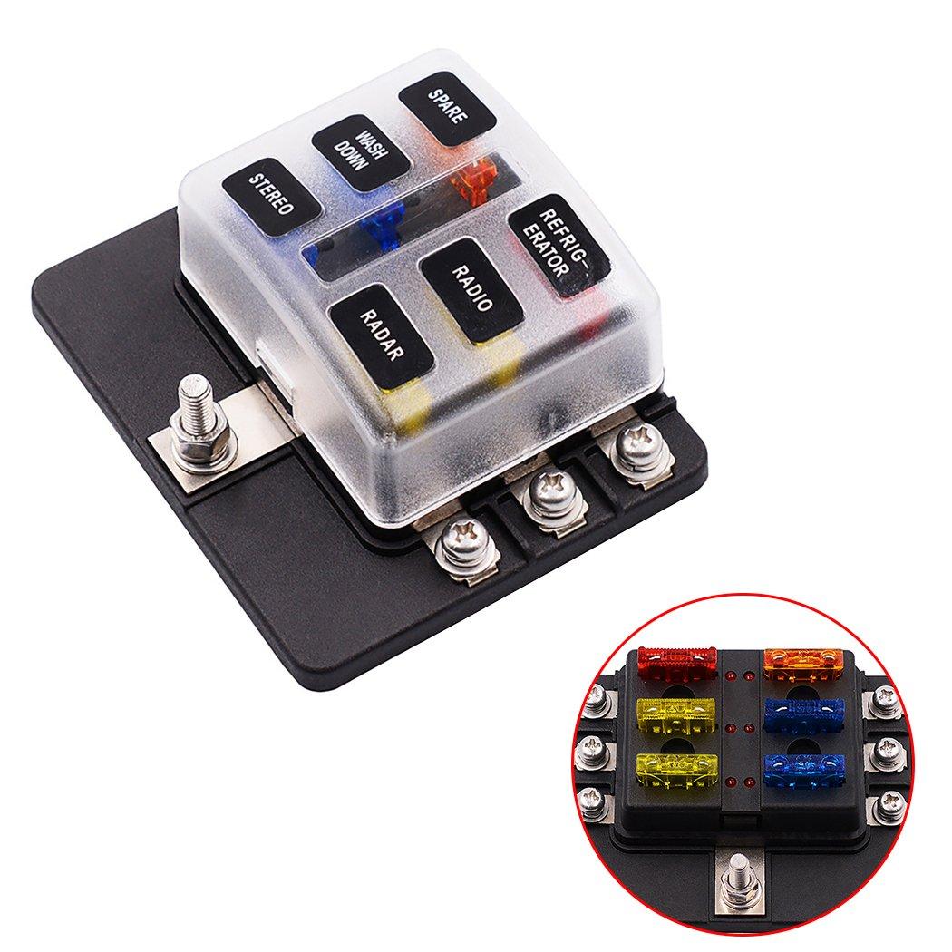 Fansport Fuse Box Fuze Block Impermeabile 12-32V 6-Way 5A 10A 15A 20A Portafusibili con LED Indicato