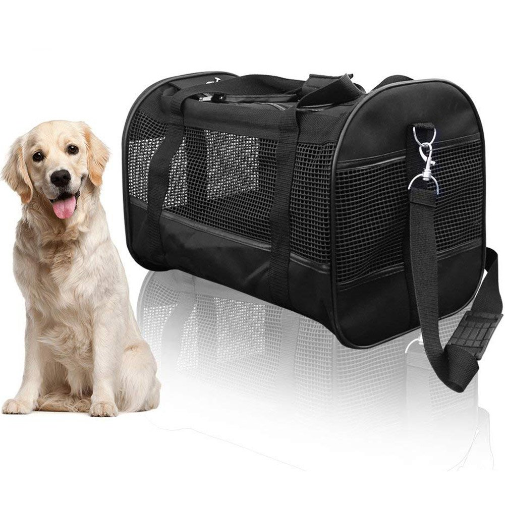 AGOOL Pet Carrier Luxury Large Soft Sided Foldable Pet Travel Tote with Removable Airline Approved Fleece Bedding for for Puppies, Cats and Pets - 19x11x12 inch by AGOOL (Image #1)