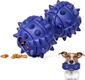 EpetsLove Dog Chew Toy for Aggressive Chewers Large Breed, Dumbbell Leakage Food Interactive Dog Toys, Natural Rubber Tough Durable Chew Toy for Medium Large Breeds.