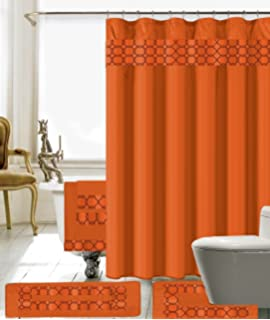 Amazon.com: Burnt Orange Decor Shower Curtain Set By Ambesonne ...