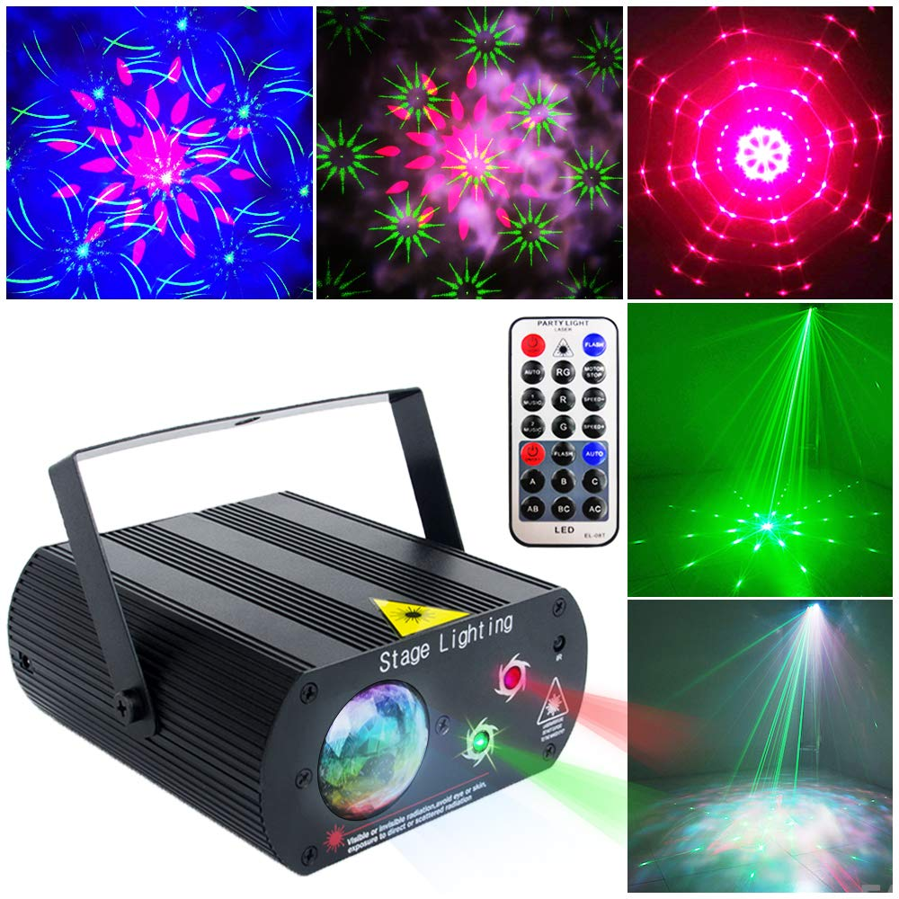 Party Lights Dj Disco Lights, SPOOBOOLA Party Lights+Water Wave Lights 2 In 1 Stage Light for Stage Lighting With Remote Control Sound Activated for Dancing Christmas Gift KTV Bar Concert Birthday by SPOOBOOLA
