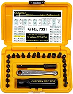 product image for Chapman MFG 7331 All-Purpose Standard Screwdriver Set - Includes Phillips, SAE Allen Hex & Slotted/Flathead Bits - Complete Set Offers 24 USA Made Insert Bits + Mini Ratchet Hand Tool (Yellow Case)