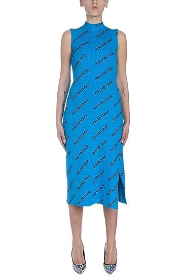 cute cheap vast selection top quality Balenciaga Women's 555322T61403660 Blue Polyamide Dress at ...