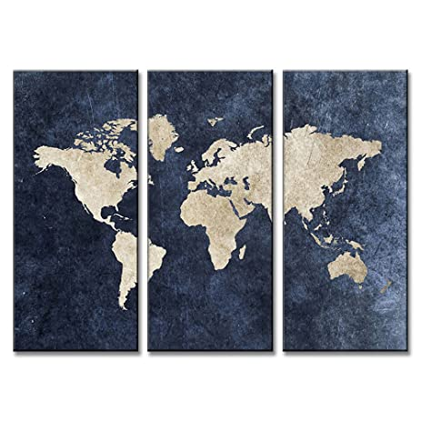 Amazon dvq art framed abstract blue world map painting print on dvq art framed abstract blue world map painting print on canvas modern navy blue maps gumiabroncs Image collections