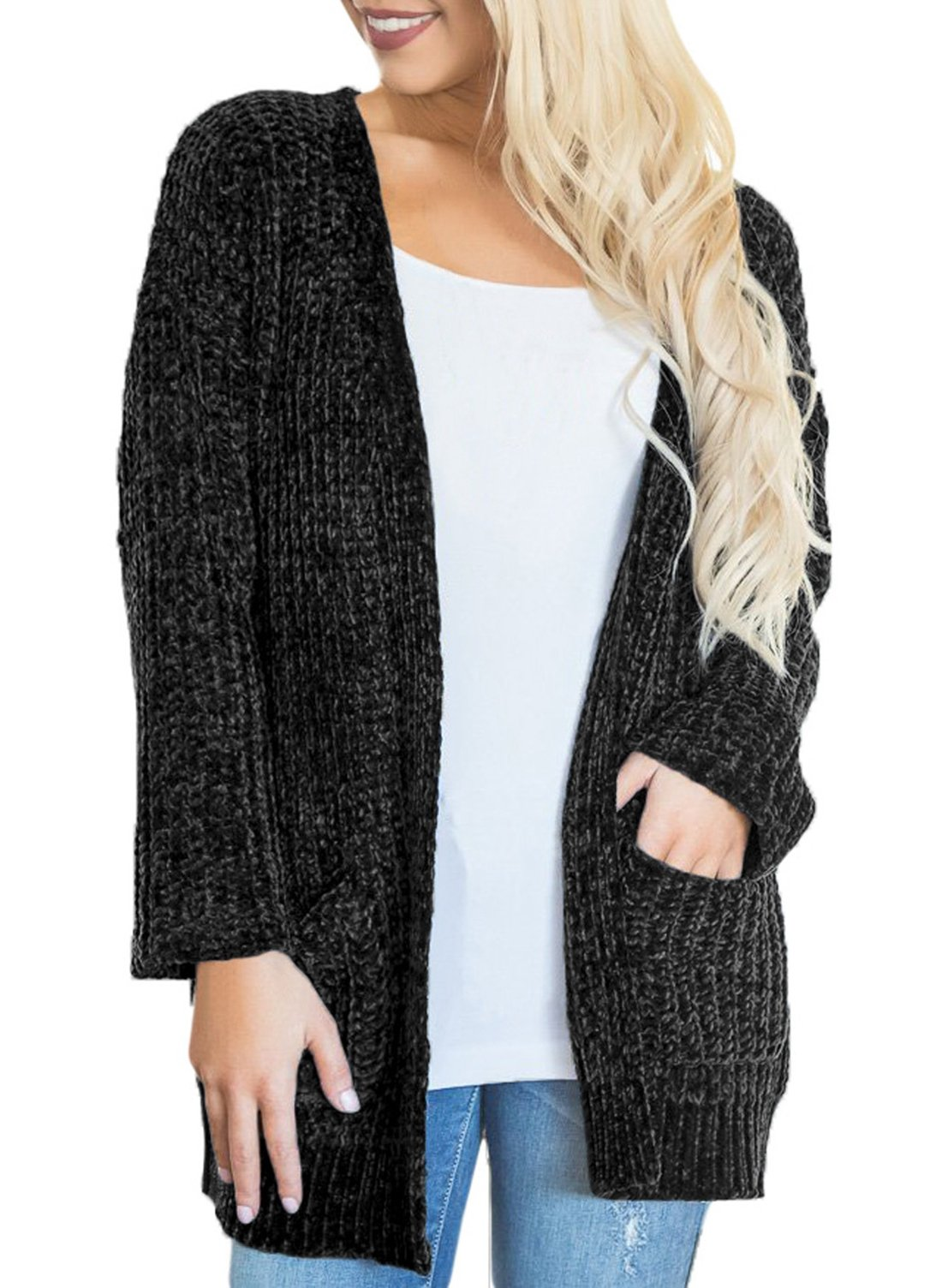 Women's Casual Long Sleeve Open Front Knitted Cardigans Loose Sweaters Oversized Outwear Coat with Pockets Black L 12 14