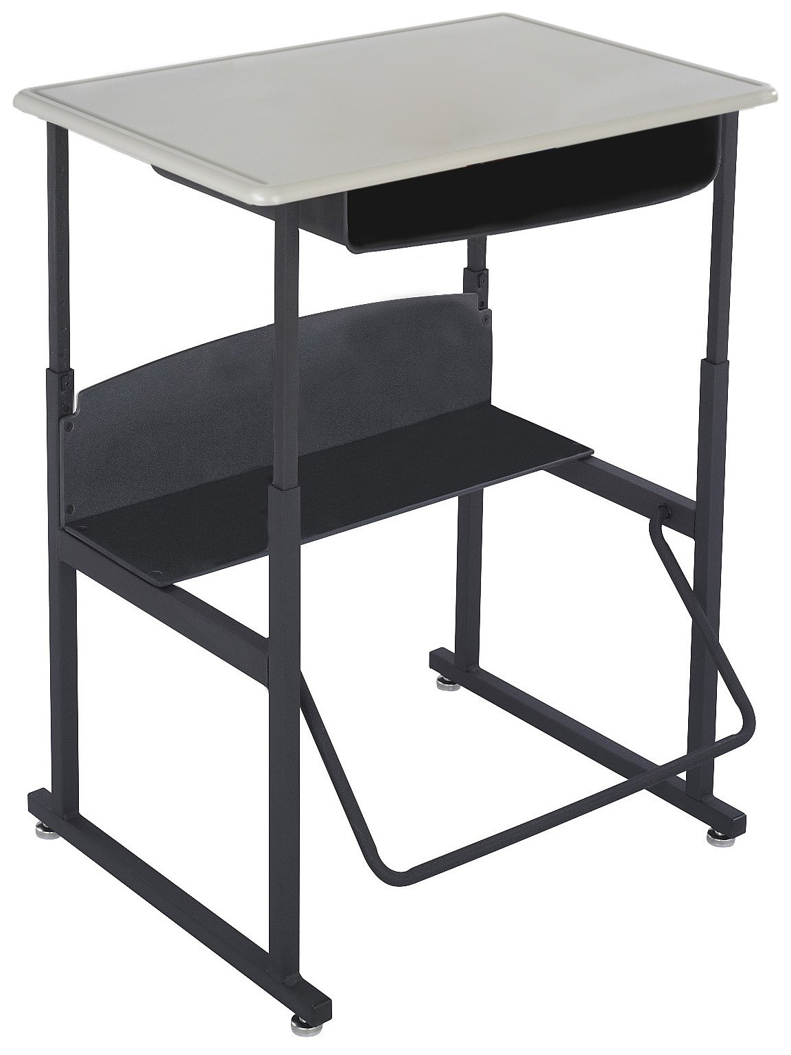 Safco Products 1202BE Alphabetter Stand-Up Desk with Swinging Footrest Bar, 28'' x 20'' Standard Top with Book Box, Black Frame/Beige Top