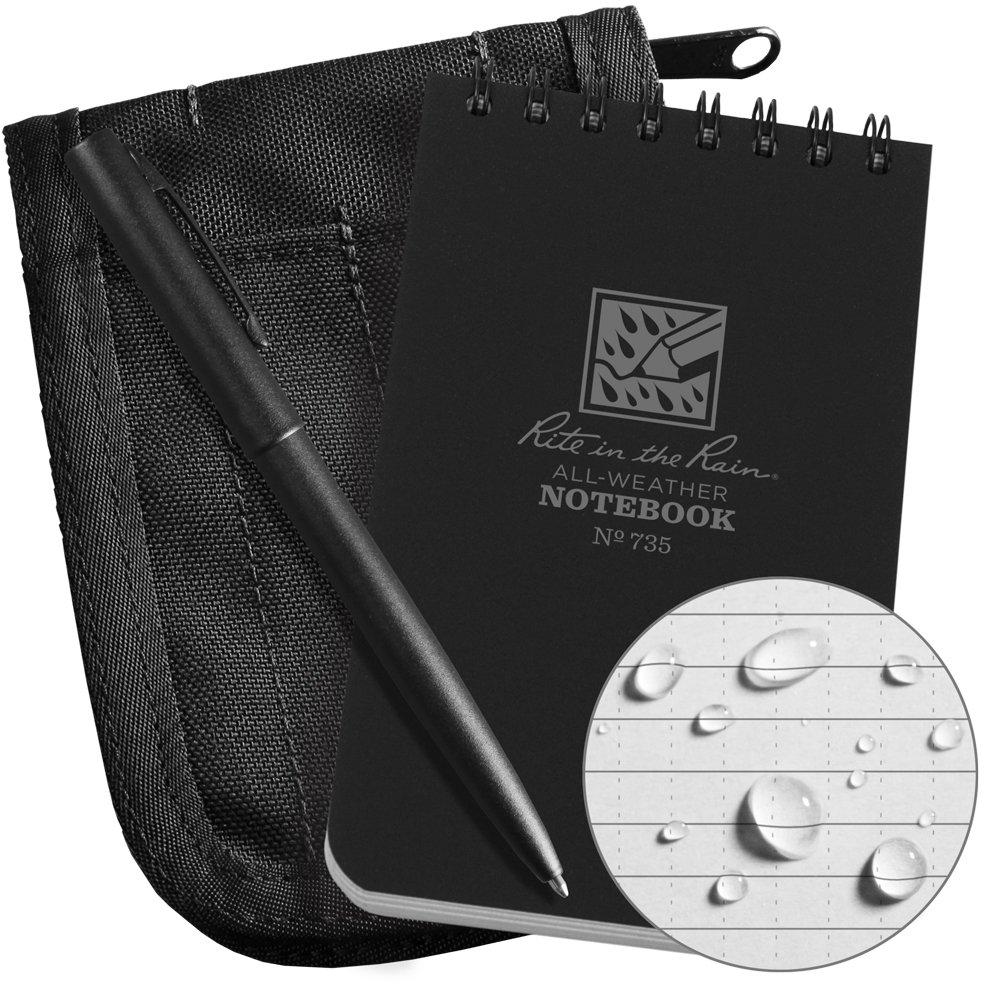 Rite In The Rain Weatherproof 3'' x 5'' Top-Spiral Notebook Kit: Black Cordura Fabric Cover, 3'' x 5'' Black Notebook, and Weatherproof Pen (No. 735B-KIT)