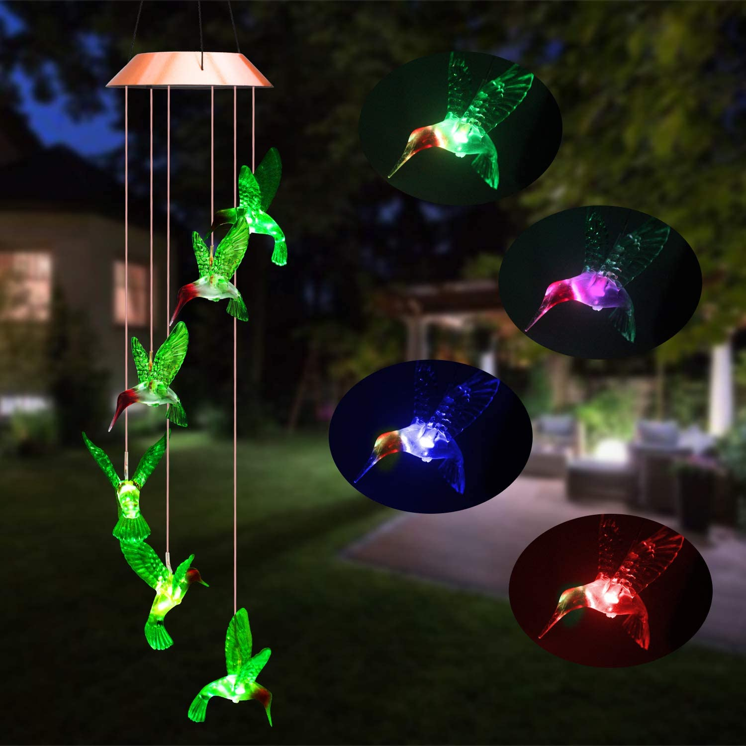 Beinhome Solar Hummingbird Wind Chimes, Outdoor Waterproof Mobile Romantic LED Color-Changing Sensor Powered Wind Chimes Lights for Home, Yard, Night Garden, Party, Valentines Gift, Festival Decor