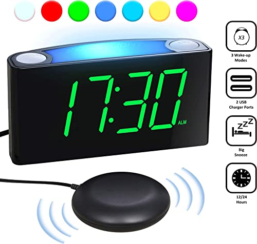 Loud Vibrating Alarm Clock with Super Bed Shaker for Heavy Sleeper Deaf Hearing Impaired Elderly, Bedrooms – Digital Plug-in Clock, Night Light, 7 Large LED Display Full Dimmer, USB Ports,12 24H DST
