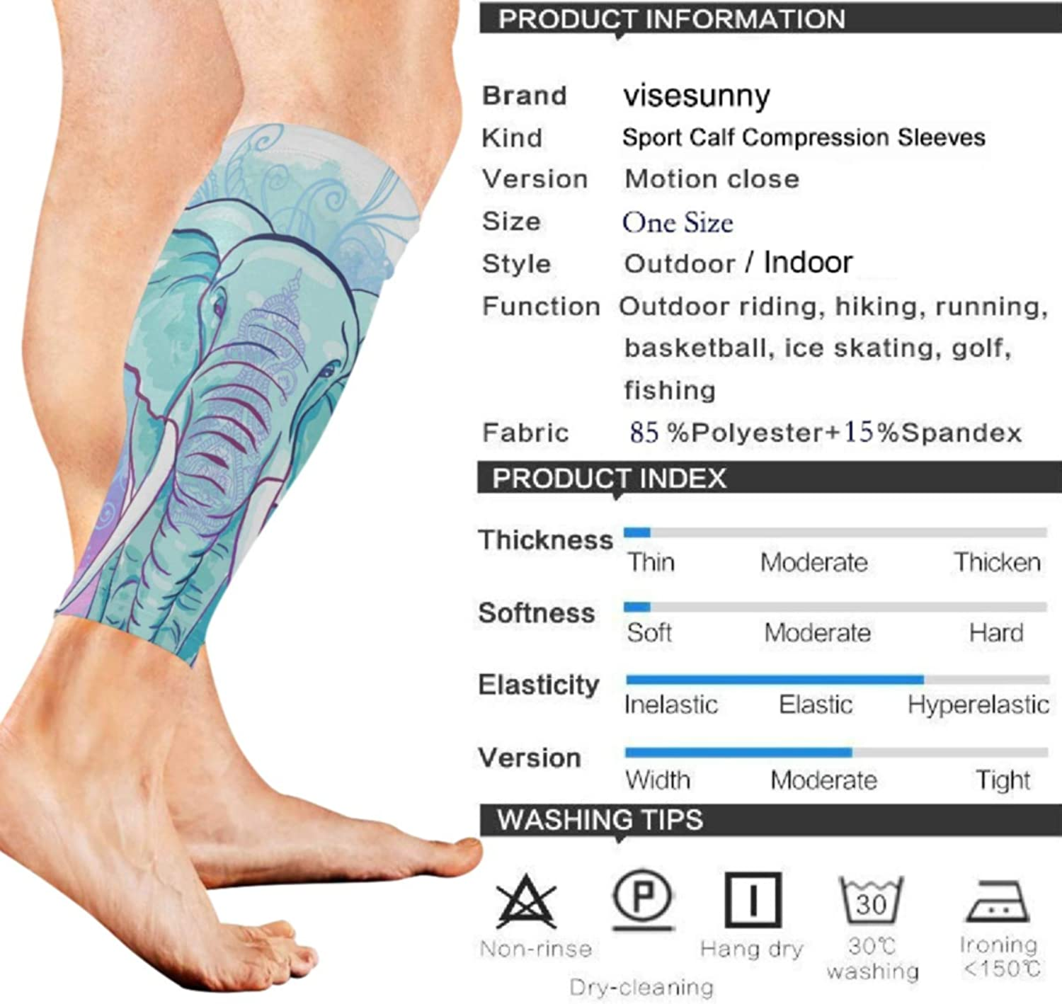 visesunny Colorful Indian Elephant Sports Calf Support Sleeves for Muscle Pain Relief, Improved Circulation Compression – Effective Support for Running, Jogging,Workout(1 Pair)