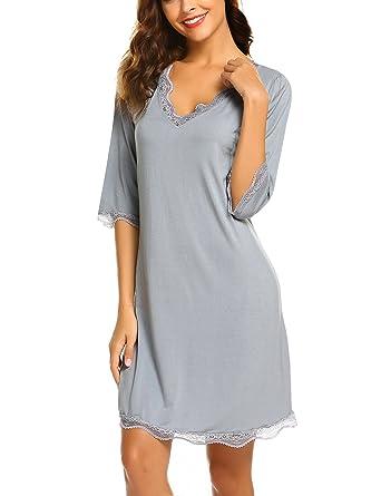 quite nice c9a73 763c5 UNibelle Damen Sexy Nachtwäsche mit Spitzen Unterkleid mit V-Ausschnitt  Nachthemd mit Halber Ärmel Schlafhemd Viskose-Schlafrock Hausanzug S-XL