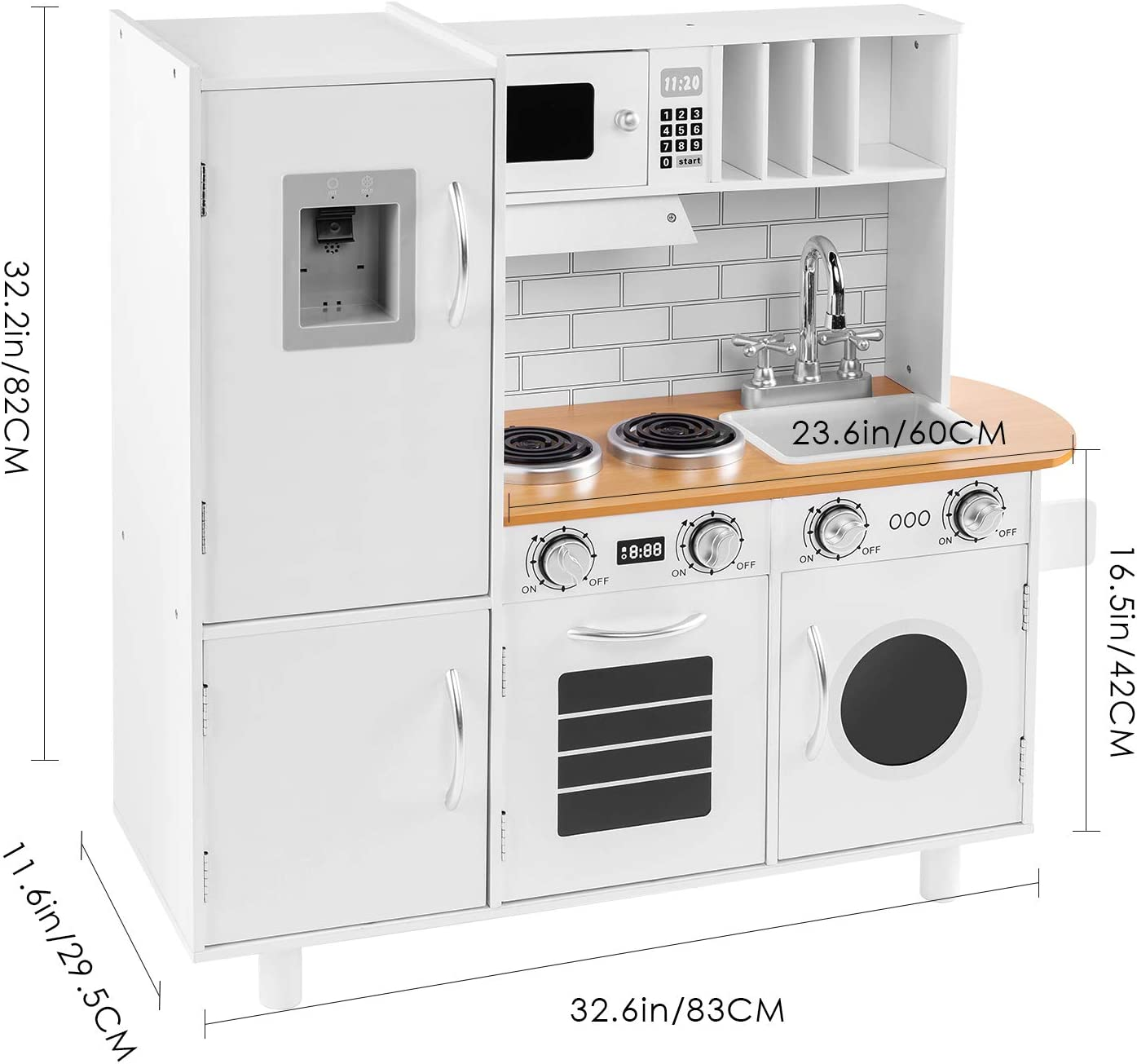 Amazon Com Bahom Kids Play Kitchen Set For Toddlers Chefs Pretend Toy Set With Sounds Height Adjustable White Toys Games