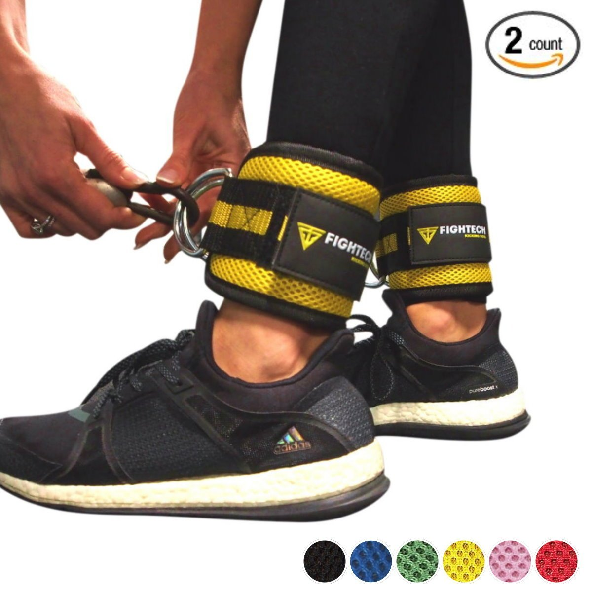 FIGHTECH Ankle Cuffs for Cable Machines. Glute & Leg Workouts for Men and Women. Stainless Steel Double D-Ring, Adjustable Comfort fit Neoprene (YEL)