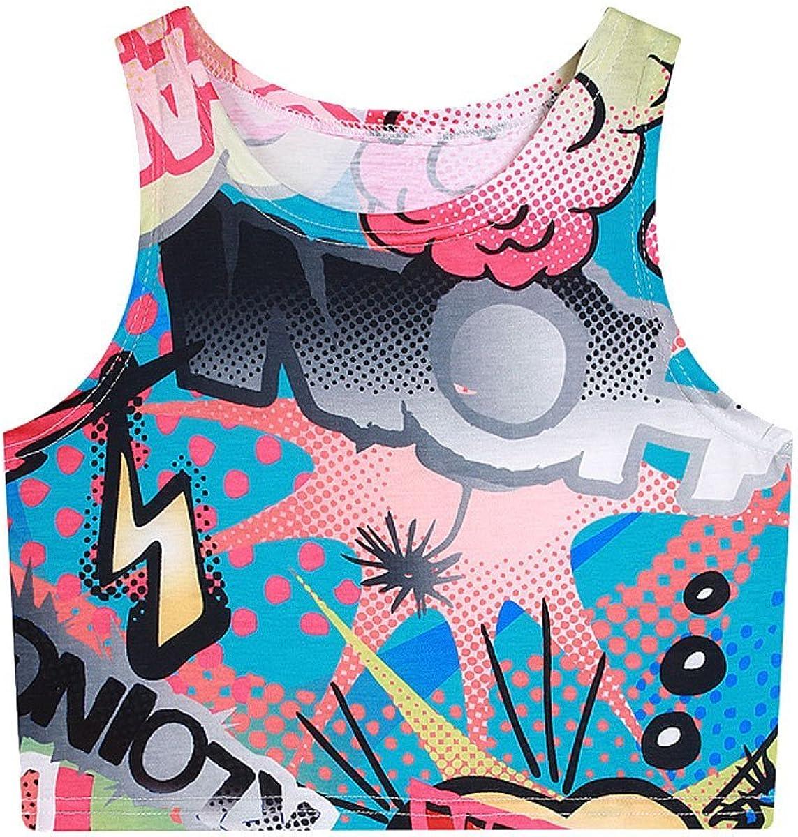 EFZQ Girls Womens Emoji Elastic Printed Backless Camis Crop Top
