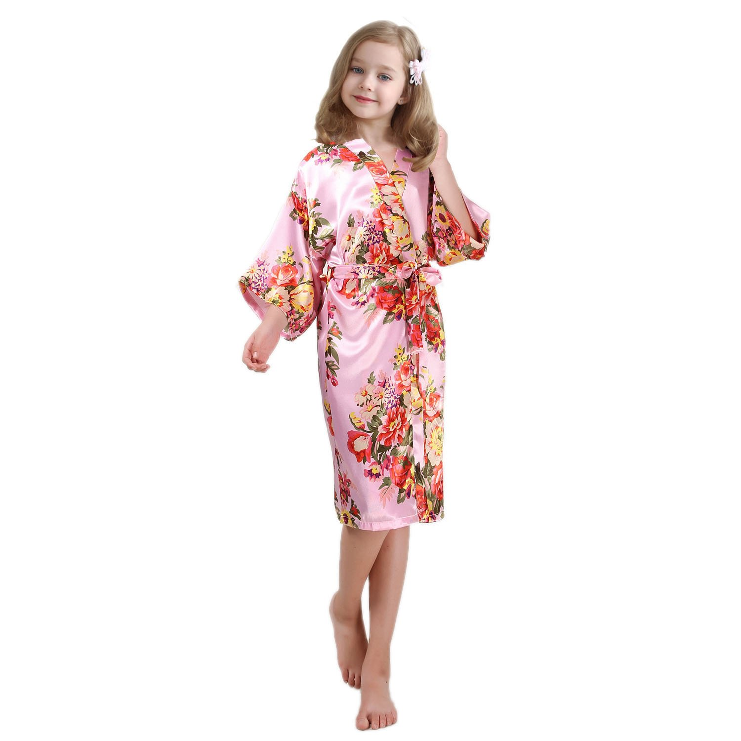 FCTREE Girls' Satin Kimono Robe Girls' Nightgown For Spa Party Wedding Birthday (8-9 Years, Pink)