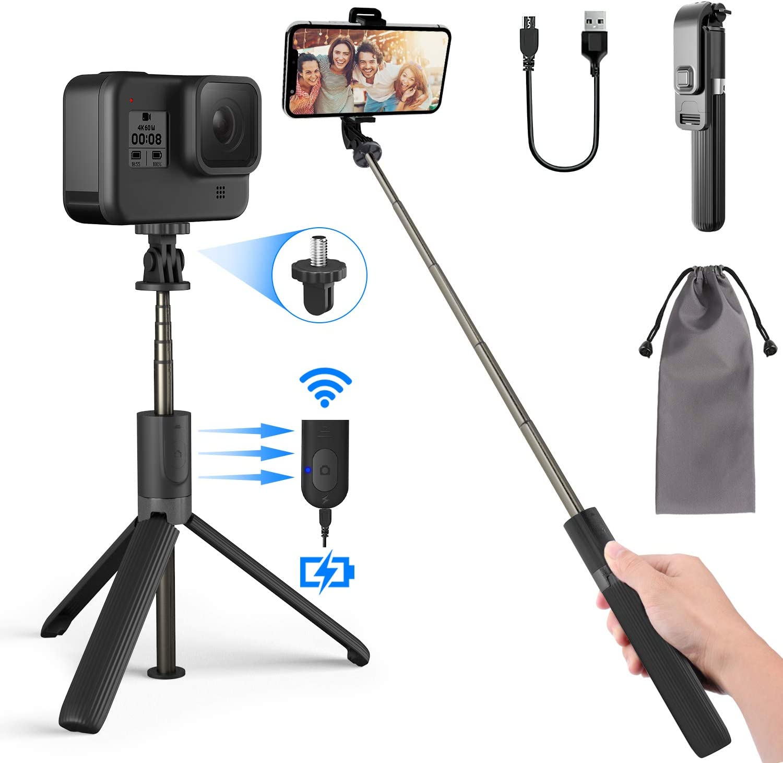 PEYOU Palo Selfie Trípode, Remoto Bluetooth Recargable, Selfie Stick Móvil Ligero y Portátil Aluminio para Mini Cámara, GoPro, Compatible para iPhone 11, X, 8, Samsung Galaxy S8, S8 Plus