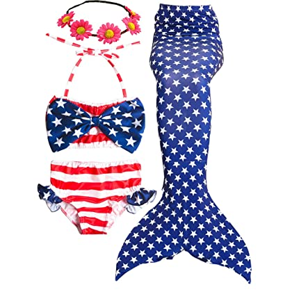 32d4e6770eab6 4PCS Girls Swimsuits Mermaid Tail for Swimming Bikini Set Toddler Big Girl  3-14Y (F Colorful