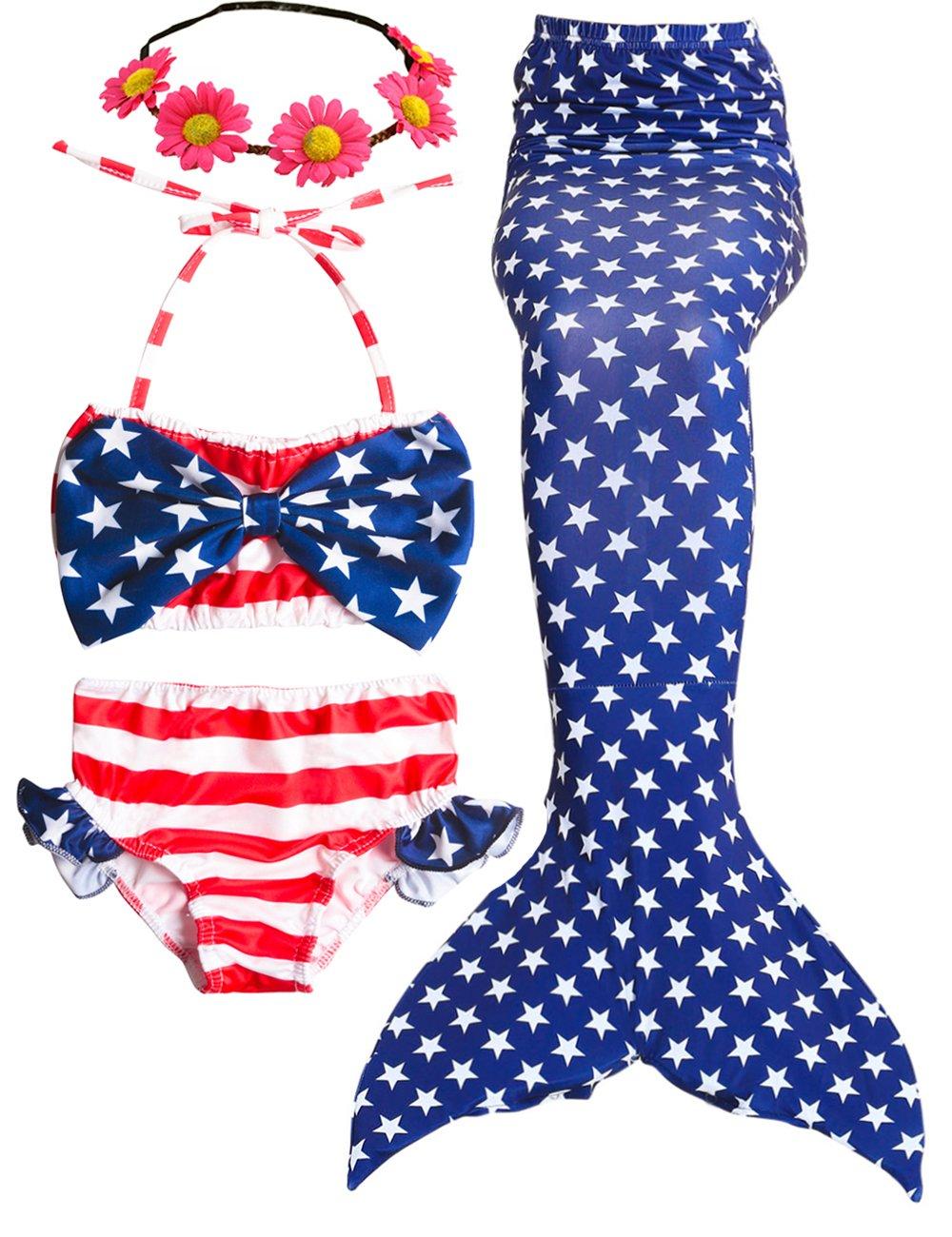 AMENON USA Flag Girls Swimsuits Mermaid Tails for Swimming Summer Bikini with Monofin