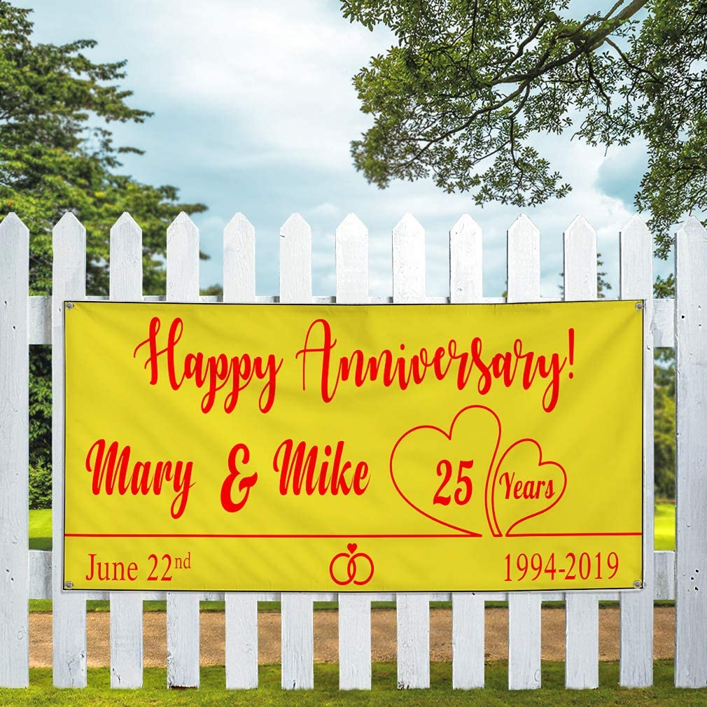 Husband Wife Names A Lifestyle Outdoor Yellow 6 Grommets 32inx80in Set of 2 Custom Vinyl Banner Sign Multiple Sizes Happy Anniversary