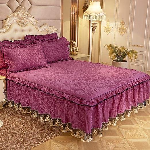 colchas cama 150 modernas Falda de cama acolchada de algodón funda ...