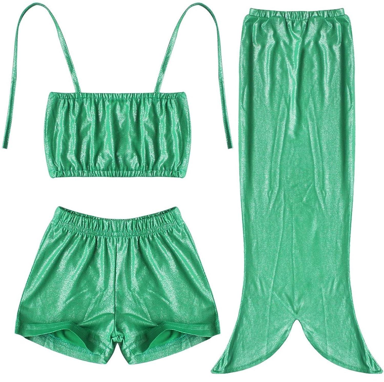 3PCS Kids Girls Fancy Princess Swimmable Mermaid Tail Bikini swimsuit