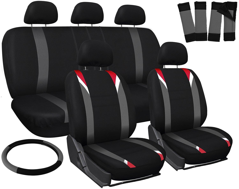 Amazon OxGord 17pc Set Flat Cloth Mesh Red Gray Black Auto Seat Covers