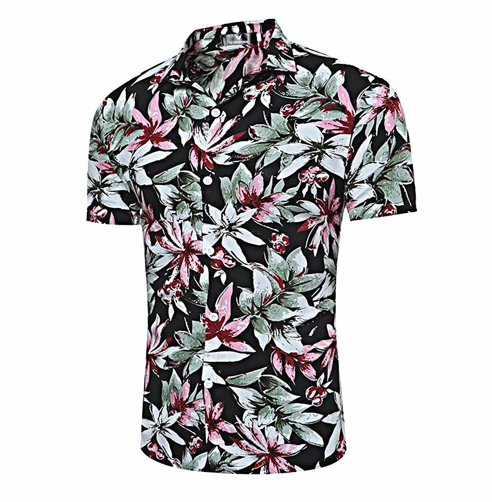98dae34f FEATURES: Straight regular relaxed slim fit, wrinkle free, short sleeve,  button down shirt, spread turn down collar, floral print, casual, loose.
