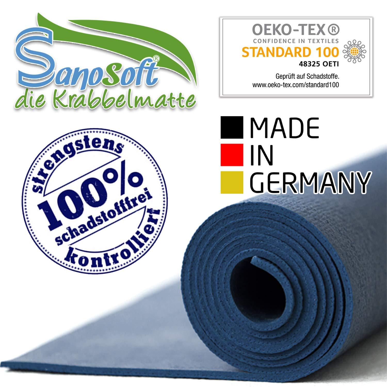 Sanosoft/® Made in Germany Anti-Rutsch Krabbelmatte Oeko-Tex Krabbelunterlage *** gro/ße Auswahl an Farben und Gr/ö/ßen 60cm X 100cm Blau