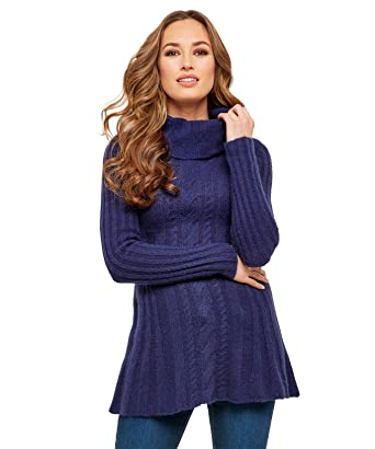 3f6d0230d36a Joe Browns Womens Cable Knit Longline Jumper Cowl Neck Navy 8   Amazon.co.uk  Clothing