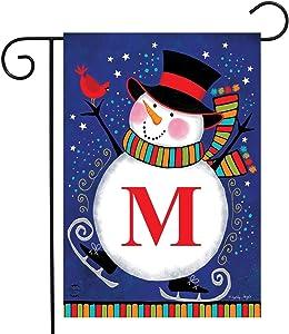 "Briarwood Lane Winter Snowman Monogram Letter M Garden Flag 12.5"" x 18"""