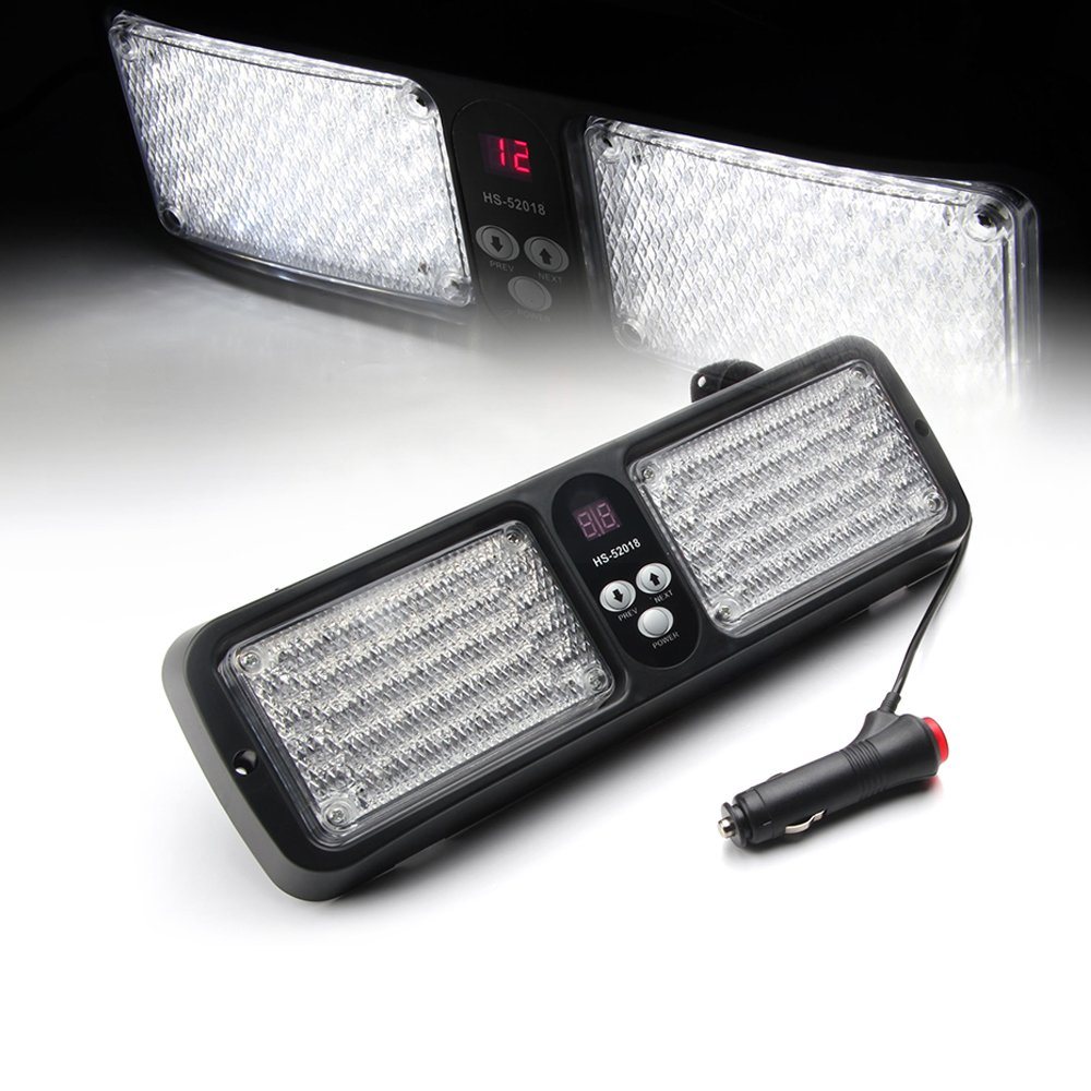Xprite White /& Red 86 LED Windshield SunShield High Intensity LED Law Enforcement Emergency Hazard Warning Strobe Lights