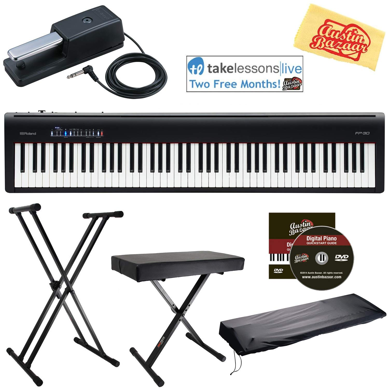 Roland FP-30 Digital Piano - Black Bundle with Roland DP-10 Damper Pedal, Adjustable Stand, Bench, Dust Cover, Online Lessons, Austin Bazaar Instructional DVD, and Polishing Cloth by Roland