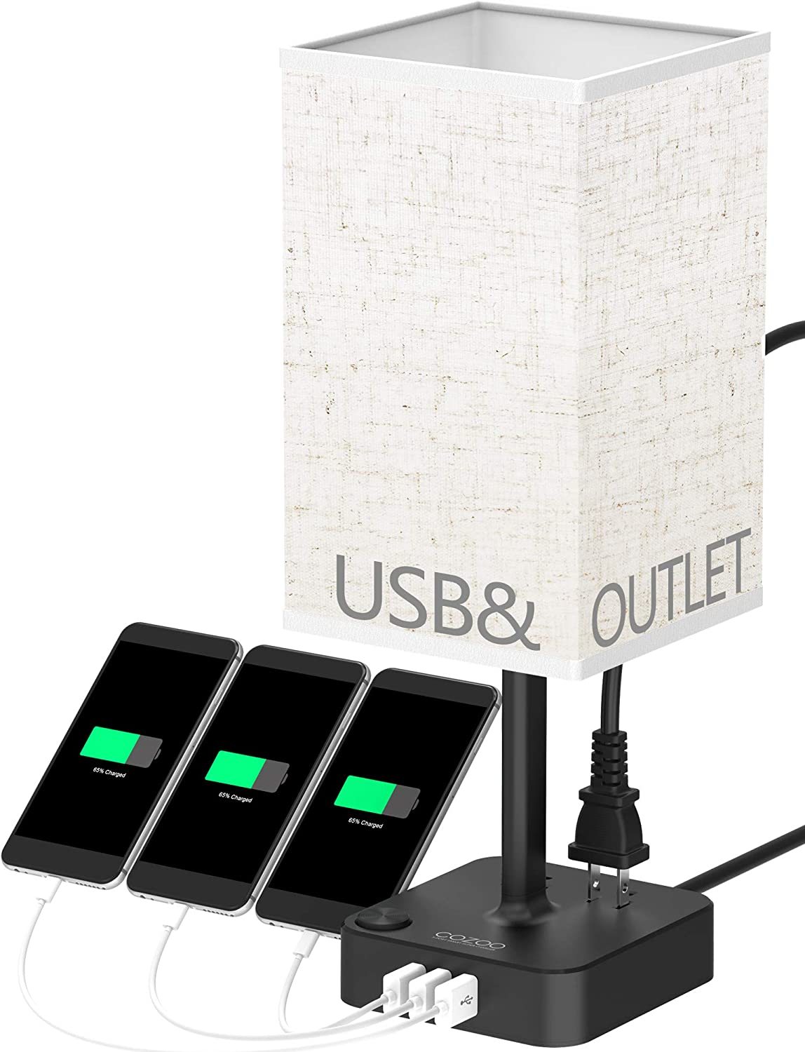COZOO USB Bedside Table & Desk Lamp with 3 USB Charging Ports and 2 Outlets Power Strip,Square Black Charger Base with Linen Flaxen Fabric Shade, LED Light for Bedroom/Nightstand/Living Room