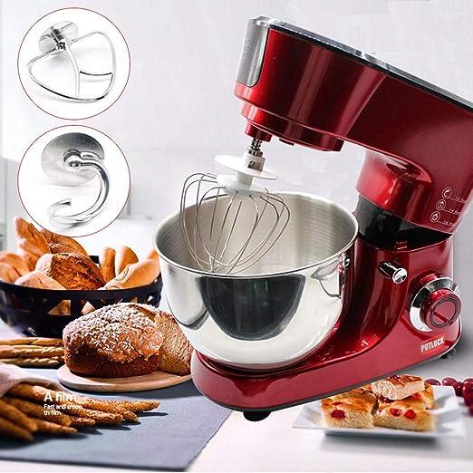 Batidora Amasadora, Robot de cocina Mezclador Amasadora de Bajo Ruido para Repostería, Robot de Cocina Automática Multifuncional con dos Gancho Amasador, 5L Recipiente de Acero Inoxidable: Amazon.es: Hogar