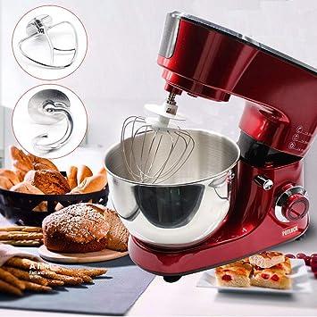 Batidora Amasadora, Robot de cocina Mezclador Amasadora de Bajo Ruido para Repostería, Robot de Cocina Automática Multifuncional con dos Gancho Amasador, ...