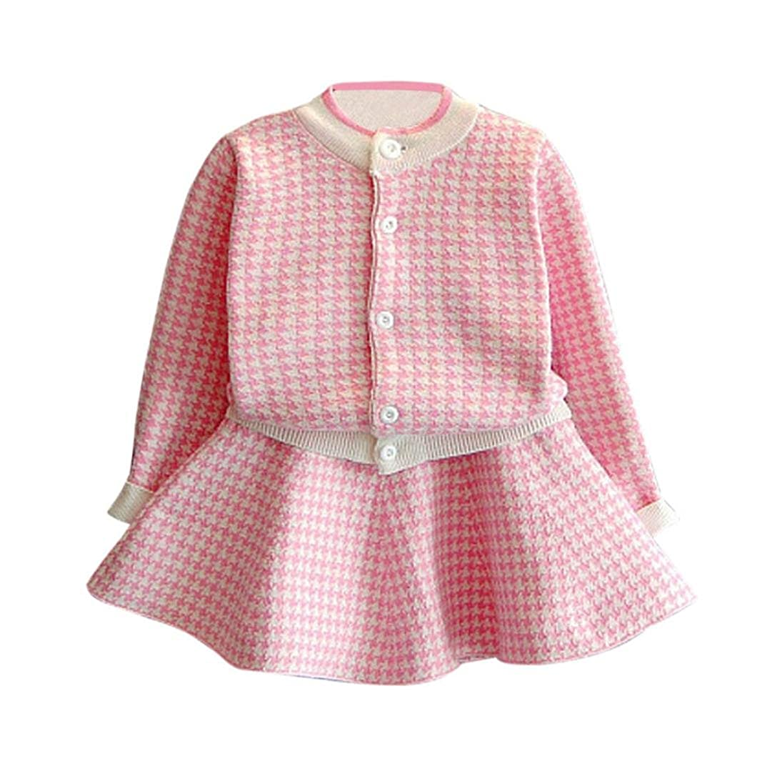 Staron Kids Toddler Plaid Knitted Sweater Dress Baby Girl Outfit Coat Tops+Skirt Set