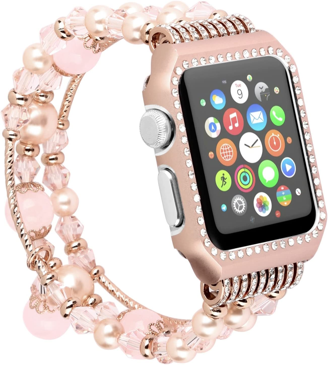 Amazon Com For Apple Watch Band Bracelet 42mm With Bling Rhinestone Metal Case Handmade Elastic Wrist Band Strip Replacement For Iwatch All Series 3 2 1 Rose Gold