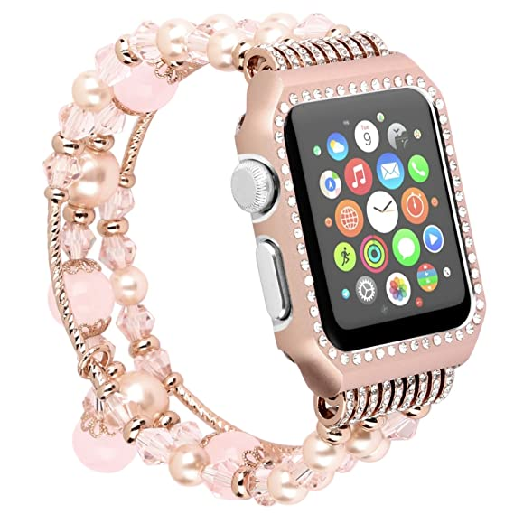 5699289d1 ritastar for Apple Watch Band Bracelet with Case 38mm Women Jewelry Elastic  Luxury Beaded Charm for