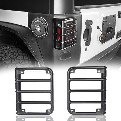 u-Box Jeep Wrangler Tail Light Cover, Matte Black Rear Euro Tail Lamp Guard for Jeep Wrangler JK 2007-2020: Automotive