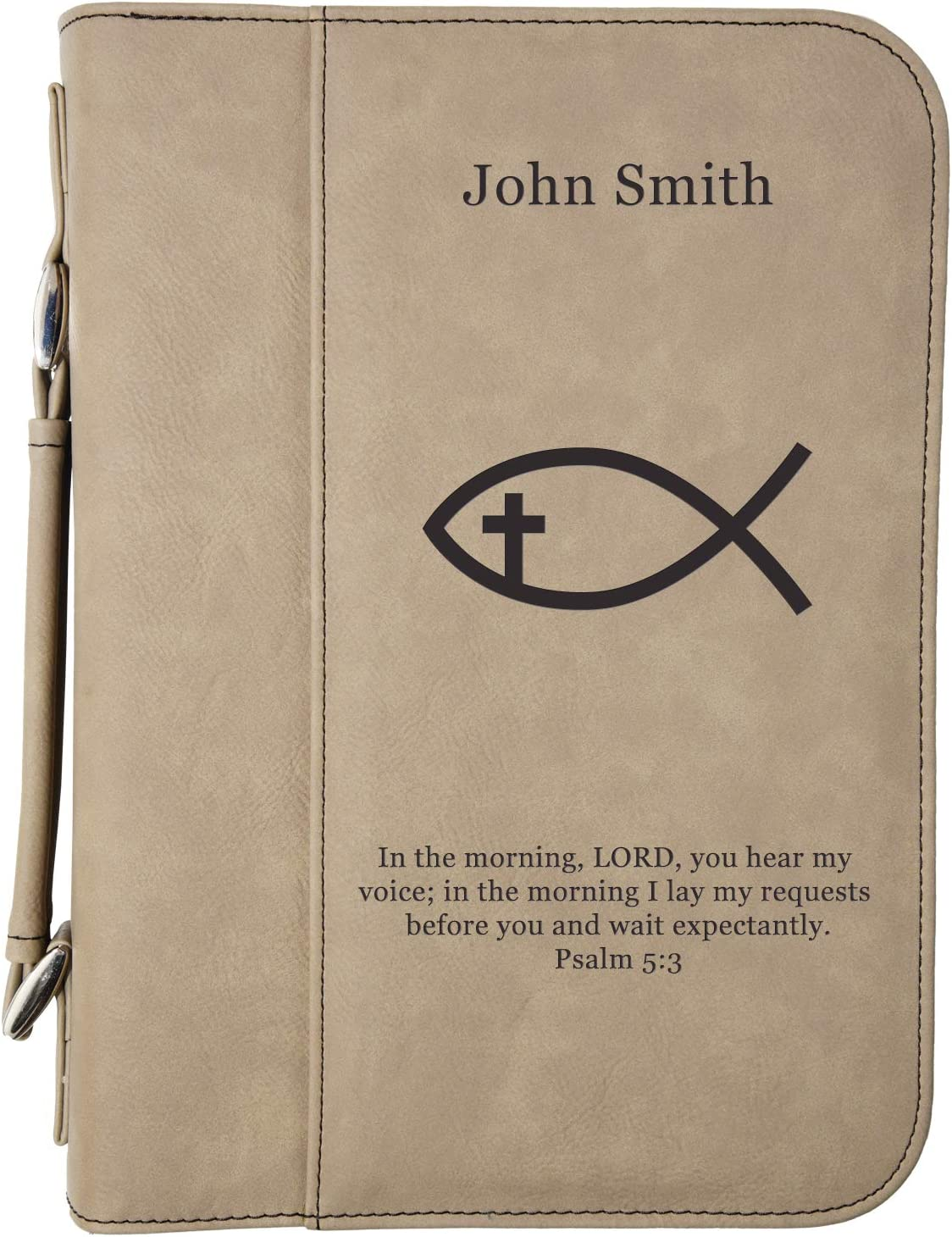 """Custom Book/Bible Cover   Personalized Laser Engraved Ichthys   Light Brown   7 1/2"""" x 10 3/4"""""""
