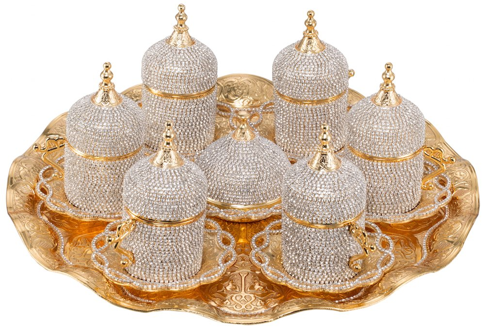 Grand Gifft Handmade Copper Turkish Coffee Espresso Serving Set Swarovski Crystal Coated Cup (Upper Crust) V.i.p Product by Grand Gifft