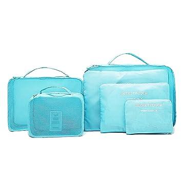 6 Set de Organizador de Viaje para Maletas,Organizador de Equipaje para Viajes y Hoga -3Pcs Cubos de Embalaje + 3pcs Bolsas de Almacenamiento,Material ...