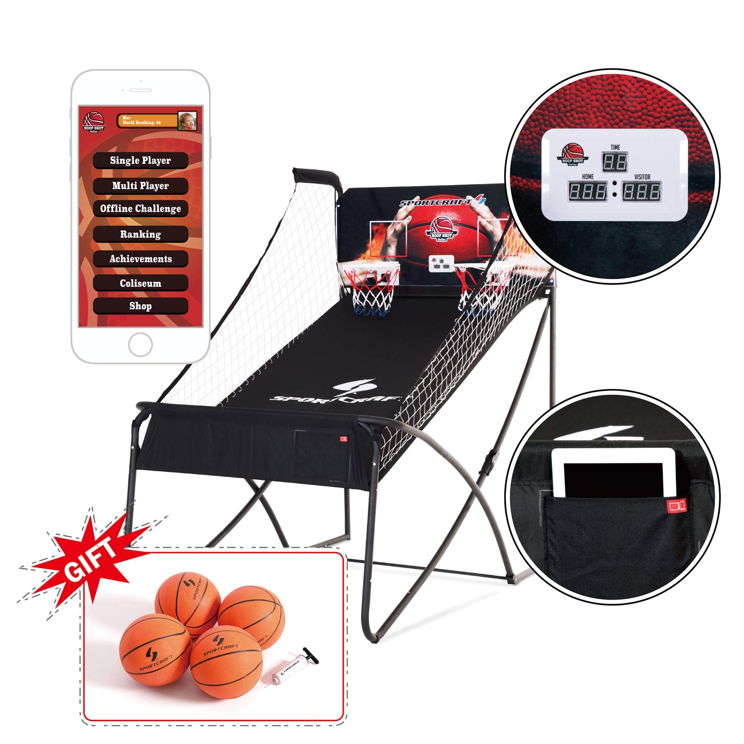 Sportcraft Online App+ Electronic Basketball Double Hoop Shot Arcade, Heavy Duty 1 1/4'' Tube ,Built in bluetooth, with free 7'' rubber basketballs x 4, pump & needle by Shaq and Sportcraft