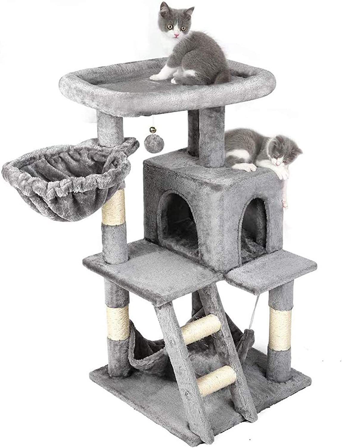 rabbitgoo Cat Tree Cat Tower 39-inch, Multi-Level Kitten Stand House Condo with Scratching Posts, Hammock & Large Plush Perch, Tall Indoor Kitty Climbing House Furniture Play Center for Large Cats
