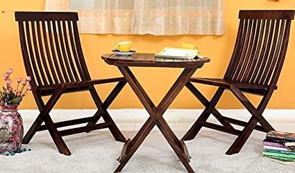 RjKart Sheesham Wood Round Dining Table Set and Folding Chairs for Living Room | Set of 3 | Walnut Finish