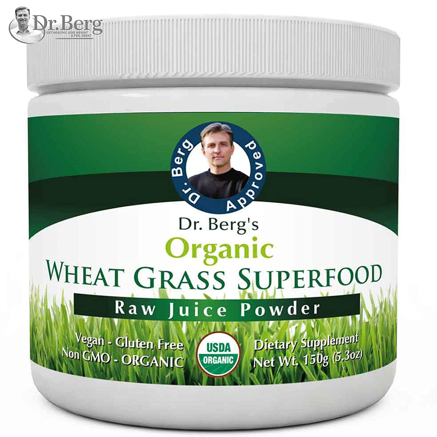 Dr. Berg s Wheat Grass Juice Organic Superfood Powder – Raw Ultra-Concentrated Nutrients – Rich in Vitamins, Chlorophyll Trace Minerals – 60 Servings – Gluten Free – Non GMO – 5.3 oz 1 Pack