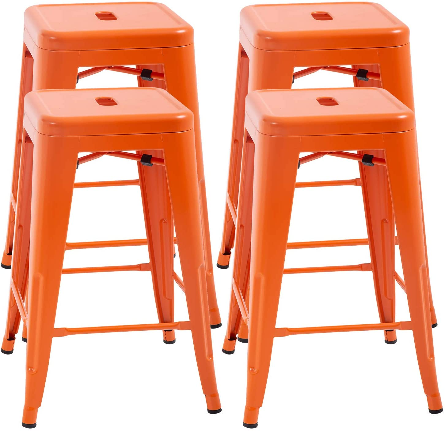 Counter Height Bar Stools Set Of 4 Metal Bar Stools Industrial Metal Stool Patio Furniture 24 Inches Kitchen Counter Stool Indoor//Outdoor Stool Moden Stackable Barstools Restaurant Dining Chairs